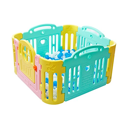 Price comparison product image 8-panel Baby Playpen For Girl Boy Plastic Versatile Multicolor Kids Activity Centre Safety Play Yard