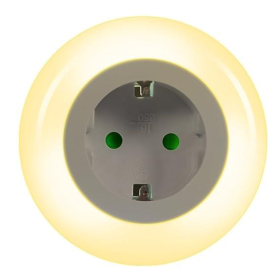 Emotionlite LED Steckdose Nachtlicht mit Dämmerungssensor Nachtlampe Kinder Schützen Steckdose Orientierungslicht Helligkeits