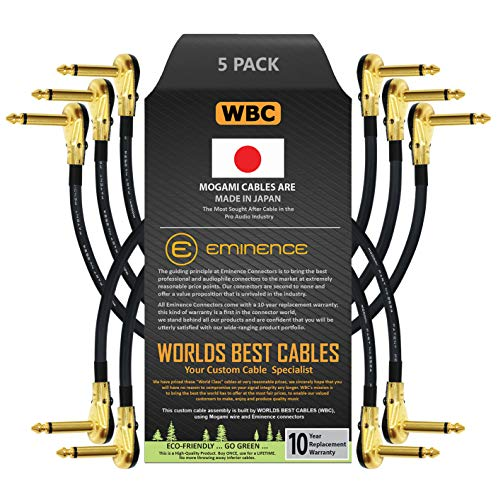 5 개 단위-15 인치 페달 효과 패치 계측기 케이블을 사용자 정의에 의해 만들어 세계 최고의 케이블을 사용하여 만든 모가미 2524 철사 그리고 예 골드 도금¼인치(6.35MM)R | 는 팬케이크 입력 커넥터