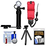 Intova Underwater LED Action Video Light with Camera Bracket Mount with Floating Strap + Flex Tripod + Kit