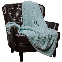 "Chanasya Super Soft Warm Elegant Cozy and Decorative Velvet Fleece Aqua Blue Microfiber Throw Blanket (50"" x 65"") - Round Popcorn Texture Turquoise Teal"