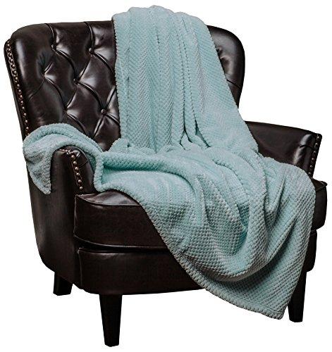 Chanasya Super Soft Warm Elegant Cozy and Decorative Velvet Fleece Aqua Blue Throw Blanket - Round Popcorn Texture Turquoise Teal (Popcorn Round compare prices)