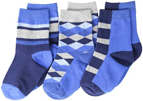 Jefferies Socks Big Boys' Argyle Stripe Crew  (Pack of 3), Navy, ()