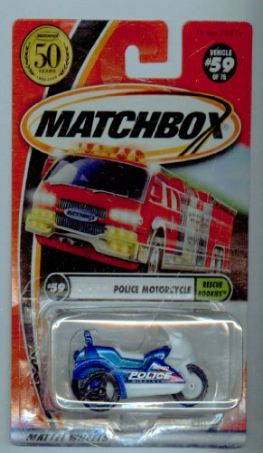 Matchbox 2002-59/75 Rescue Rookies Police Motorcycle 50 Years 1:64 Scale
