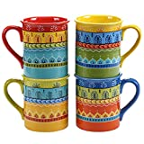 Certified International 14178SET/4 Valencia Mugs (Set of 4), 16 oz, Multicolor
