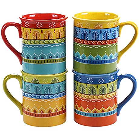 Certified International Valencia Mugs Set Of 4 16 Oz Multicolor