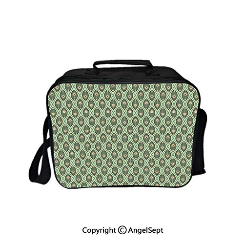 Hot Sale Lunch Container,Graphic Peacock Feathers Pattern in Pastel Color Nostalgic Asian Culture Decorative Pistachio Green Tan 8.3inch,Lunch Bag Large Cooler Tote Bag For Men, - Cooler Nostalgic