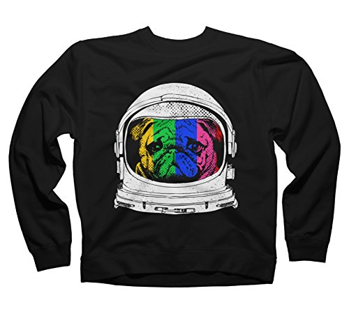 Astronaut Pug Men's Medium Black Graphic Crew Sweatshirt - Design By Humans