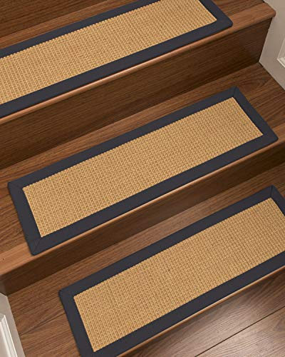 NaturalAreaRugs 100% Natural Fiber Heavy Boucle, Sisal Light Gold, Handmade Custom Stair Treads Carpet Set of 13 (9