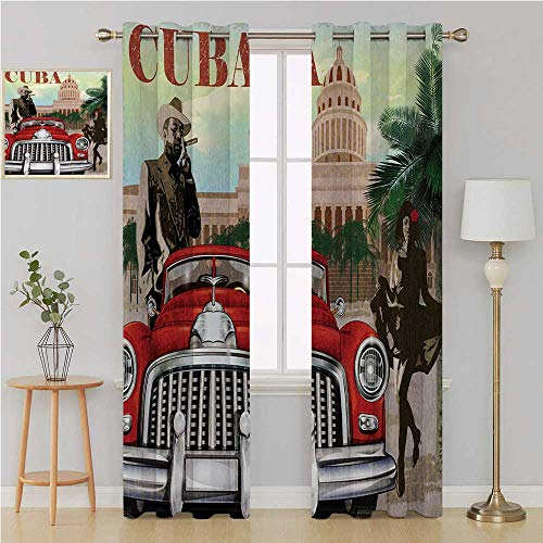 Benmo House Cuba Gromit Curtains Fade Resistant Polyester Microfiber,Country Tourism Advertisement Theme Vintage Design Cigar Smoking Man and Dancing Girl Kids Room Decor 120 by 96 Inch Multicolor