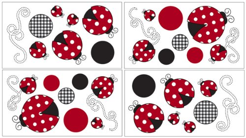 Sweet Jojo Designs Red and White Polka Dot Little Ladybug Peel and Stick Wall Decal Stickers Art Nursery Decor - Set of 4 Sheets