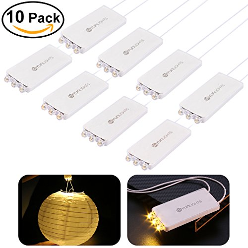 10 Pack Mini Party Lights with 3 LEDs, YUNLIGHTS Waterproof Lights For Paper Lanterns Balloons Night Lights and Outdoors Hanging Light - Warm White (Outdoor Paper)