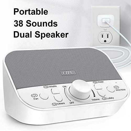 White Noise Machine – Sound Machine for Sleeping Relaxation w Timer – 38 Soothing Natural Sounds Noise Maker – Portable Sleep Sound Therapy for Home, Office or Travel – Built in USB Output Charger