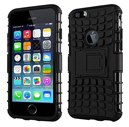 Lejaao Kickstand Shock Proof Back Case Cover for Apple i Phone 5s    Black D2 Design