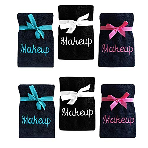 Makeup Wash - Luxury 100% Cotton Makeup Removal and Cleansing Embroidered Wash Cloths, Set of 6 Makeup Wash Cloths, Multi Pack 3 Colors