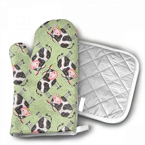 Green Funny Cow Oven Mitts,Professional Heat Resistant Micro