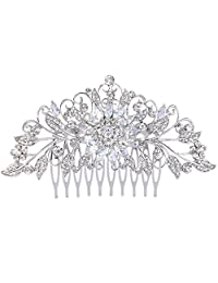 Ever Faith Silver-Tone Crystal Cubic Zirconia Vintage Inspired Sunflower Leaves Hair Comb Clear N07356-1