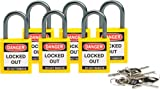 Brady 118962 Yellow, Brady Compact Safety Lock - Keyed Alike (6 Locks)