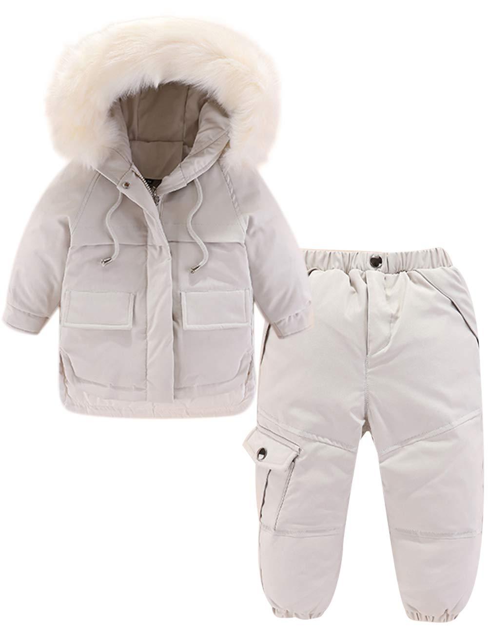 Zoerea Baby Daunenanzug Set Junge Mädchen Bekleidungsset 2tlg Mit Kaputze Verdickte Winterjacke + Daunenhose Kinderskianzug