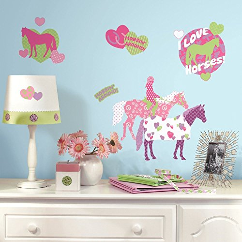 New HORSES 44 BiG Wall Stickers Girls Room Decor Decals Kids HEARTS Polka Dots Pink (Kids Horse Bedroom)