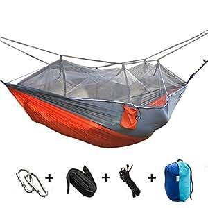 syooy Camping hamaca con mosquitera tela de Nylon paracaídas hamaca doble para jardín playa viajar senderismo aventura al aire libre selva