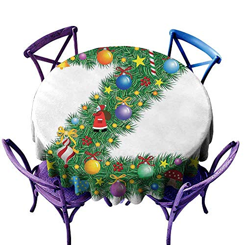 ScottDecor Letter Z Printed Tablecloth Traditional Themed Font Design Z with Colorful Ornaments Christmas Santa Claus Patterned Round Tablecloth Multicolor Diameter 36