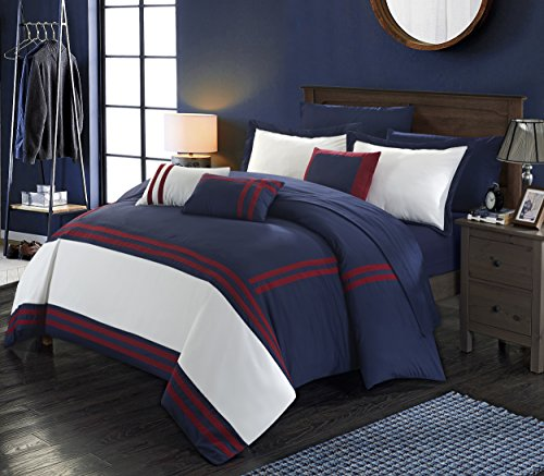 Perfect Home 10 Piece Farah Supersoft Oversized pieced color block banding collection Queen Bed In a Bag Comforter Set Navy With sheet (Stripe 10 Piece Bedding Ensemble)