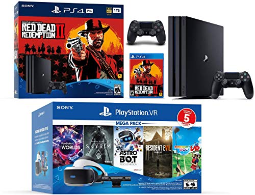 2019 Playstation 4 PS4 Pro 1TB Red Dead Redemption 2 Console + VR Headset + Camera + 6 Games Bundle
