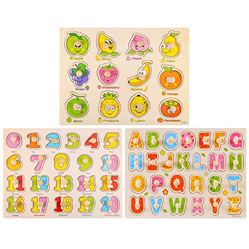 Antner Wooden Peg Puzzle for Toddlers (Set of 3) Numbers, Letters and Fruit Puzzle Educational Toys Kids Jigsaw Puzzle