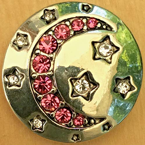 Snap Chunk Button 20mm Pink Moon and Stars Charm for Ginger Snap Style Jewelry SE-2515
