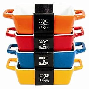 Auflaufformen für Tapas, Lasagne etc., rechteckig, 4er-Set, klein, 5 x 14 x...