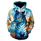 Men's and Women's Tiger and Fish Realistic 3D Print Pullover Hooded Sweatshirt Hoodie Large Pocket