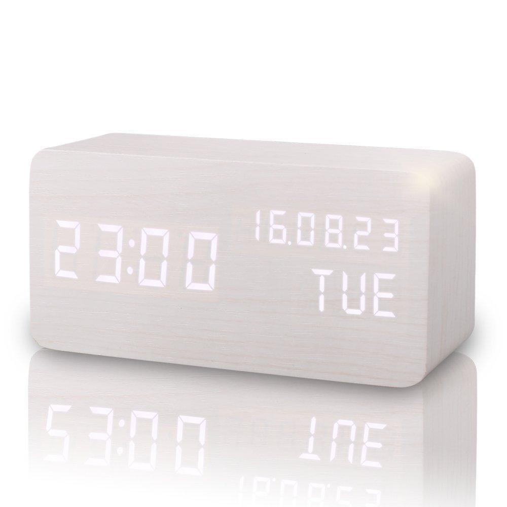 Sveglia Digitale, E-LINK Orologio da Tavolo con Attivazione Sonora con Display di Temperatura/ Data/ Tempo,Sensore del Suono per l'attivazione Presa USB per Casa e Ufficio (Bianco) GUOLIAN