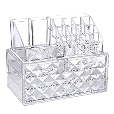 Ikee Design Diamond Pattern Acrylic Jewelry & Cosmetic Storage Display Boxes Two Pieces Set. - PS MATERIAL COSMETIC & MAKEUP STORAGE CASE- Unlike ordinary makeup case, this two pieces set organizers has diamond shape pattern which adds a decorative touch to your dressing table or bedroom countertop when using it CONVENIENT & MULTI-PURPOSE- It only occupies a little space on your counter to keep makeup and accessories organized and easily accessible; The top compartment can be used to hold lipsticks, brow pencils, eyeliners, mascaras, and makeup brushes, manicure; the drawers are perfect for different shapes and sizes of your favorite foundation, eye shadow, liner, mascara, lipstick, nail polishes, jewelry and more COMPONENTS-16 top slots and 4 drawers with different sizes - organizers, bathroom-accessories, bathroom - 517YwMf66aL. SS400  -