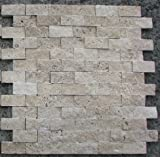 Kitchen Sink Backsplash Split Face 1x2 Classic Beige Travertine For Kitchen Bathroom backsplash & Exterior Use