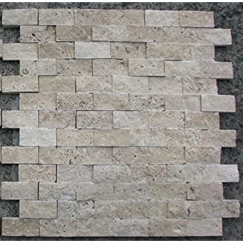 Split Face 1x2 Classic Beige Travertine For Kitchen Bathroom