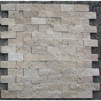 Ivory Travertine 2 X 4 Split Faced Brick Mosaic Tile 6