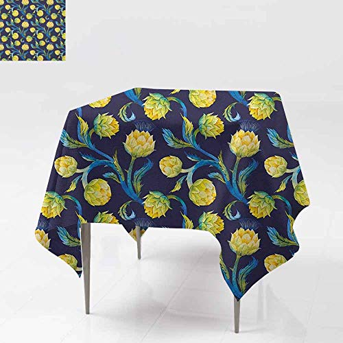 Stain Square Tablecloth,Artichoke,Watercolor Artichokes Abstract Color Scheme Art Nouveau,Table Cover for Dining,60x60 Inch Dark Blue Violet Blue and Yellow