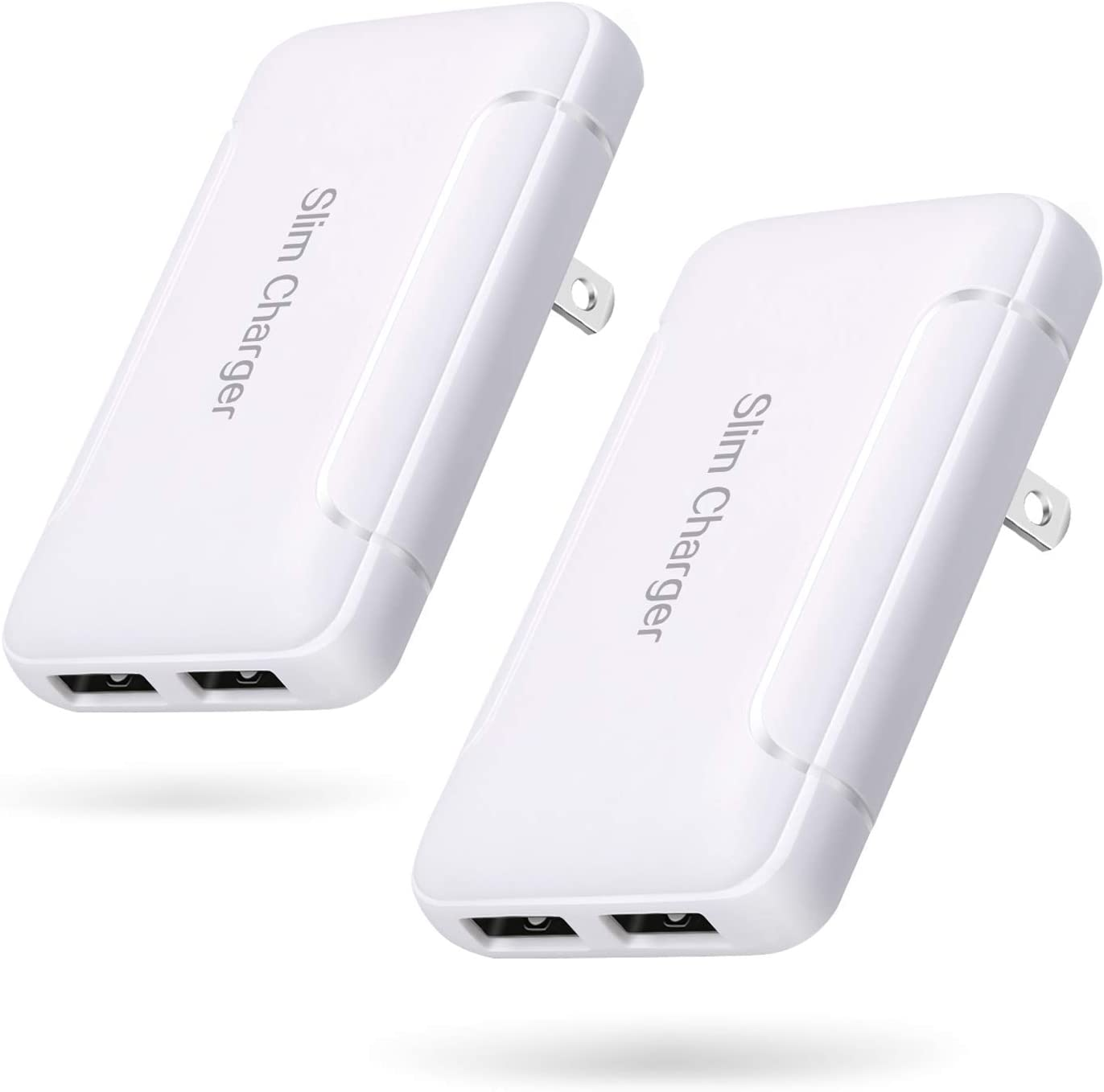 USB Wall Charger, Foldable Charger Adapter, Pofesun 2-Pack Dual Port Foldable Fast Charger Block Power Adapter Compatible for iPhone 11/ Pro/MAX/X/XS/XR/XS Max/8/7/6/Plus,iPad,Samsung Galaxy-White