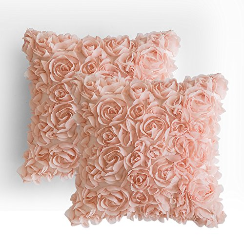 MIULEE Pack of 2 3D Decorative Romantic Stereo Chiffon Rose Flower Pillow Cover Solid Square Pillowcase for Sofa Bedroom Car 18x18 Inch 45x45 cm Peach Pink (Rose Pillow Pink Throw)