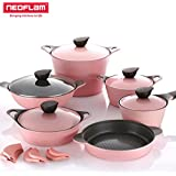 Neoflam EELA Cast aluminum 6 pcs Chef's Stockpot & Wok & Multigrill Premium Set with Lid (Romantic Pink))