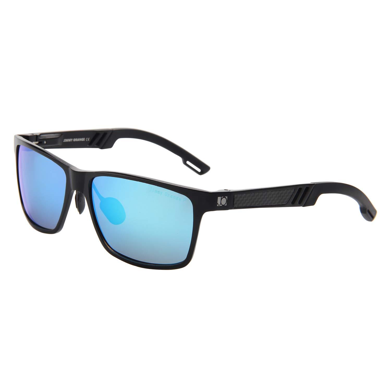 0412f1ce97 Amazon.com  Jimmy Orange Aluminum Magnesium Frame Mirrored Lens Polarized  Men Women Wayfarer Sunglasses JO661 (black frame blue lenses)  Clothing