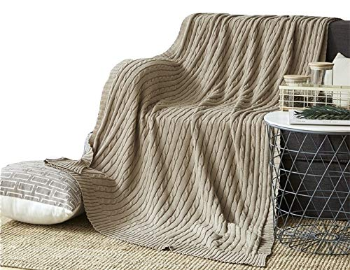 NUVOLE Luxury Knitted Throw Blanket, 100% Cotton Cable Knit Blanket Lightweight Quilt Throw for Home Decorative, Sofa,Couch,Travel,Picnic Blanket, Khaki