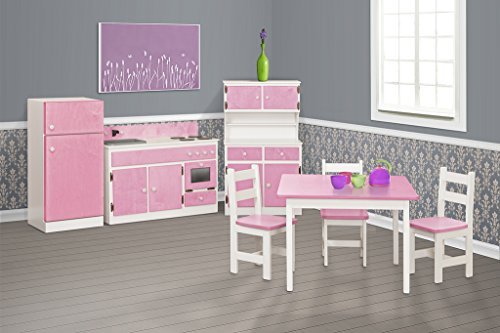Children's Sink-Stove, Hutch, Fridge, Table and Chairs Set -Two Tone Collection - Black and White Color Amish Bedroom Hutch