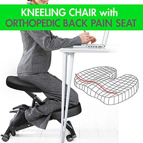 Kneeling Chair with Orthopedic Back Pain Seat, Faux Leather - Pneumatic Adjust, Helps Prevent Coccyx Pain, Kneeling Chair for Better Posture.