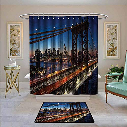 Kenneth Camilla01 Shower Curtain NYC,Brooklyn Bridge Over The River,Water Resistant Decorative Bathroom Fabric 72