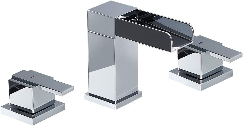 Lovedima Mero Waterfall Modern Widespread Bathroom Sink Faucet 2 Handles Chrome