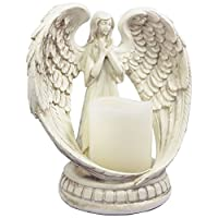 "KiaoTime (6"" Tall -Small) Praying Angel Figurine Wings Angel Flamless Candle Holder Angel Figurine Sculpture Statue Decorative Home Wedding Christmas Church Baptism Angel Collection Figurine"