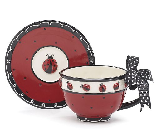 Whimsical Ladybug Teacup and Saucer Set with Bow on Handle Adorable Teacup for Teas (Whimsical Tea Sets)