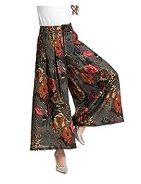 Feoya Women Loose High Waist Floral Printed Tencel Culottes Wide Pants Palazzo
